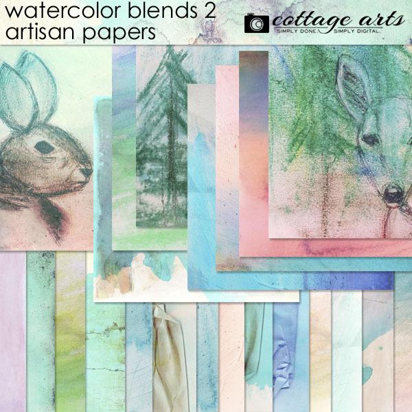 Watercolor Blends 2 Artisan Papers Digital Art - Digital Scrapbooking Kits