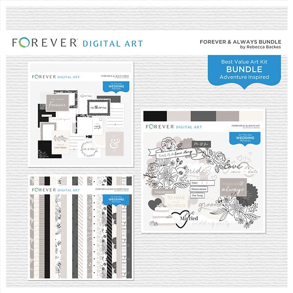 Forever & Always Bundle Digital Art - Digital Scrapbooking Kits