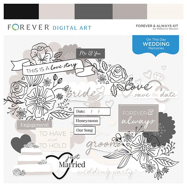 Forever & Always Kit Digital Art - Digital Scrapbooking Kits