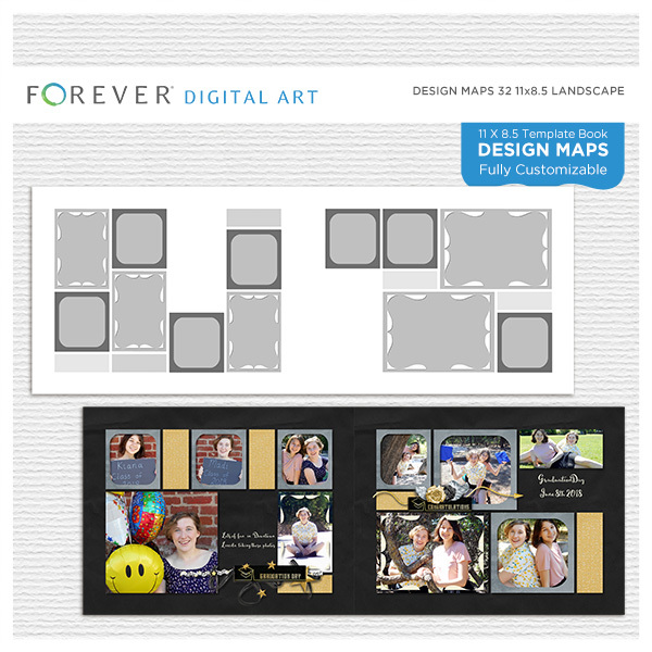 Forever Design Maps 32 11x8.5 Digital Art - Digital Scrapbooking Kits