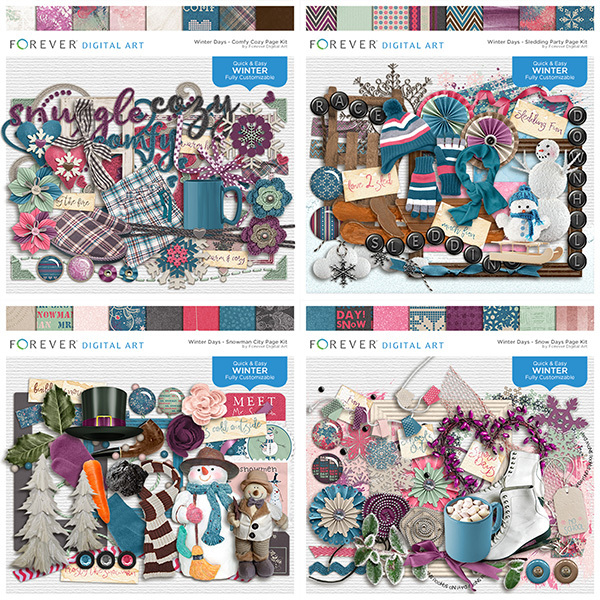 Winter Days - Bundle Digital Art - Digital Scrapbooking Kits