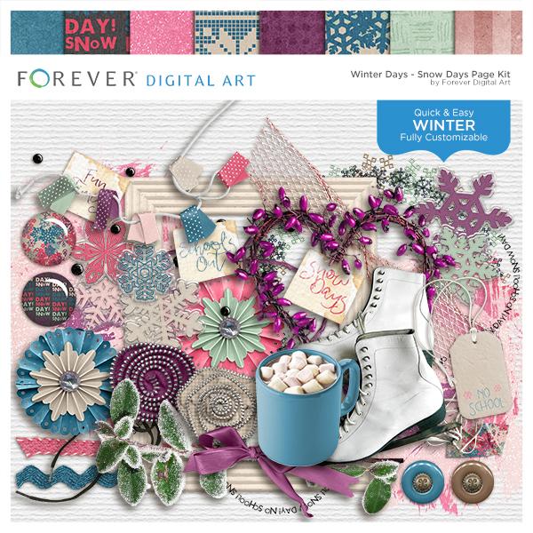 Winter Days - Snow Days Page Kit Digital Art - Digital Scrapbooking Kits
