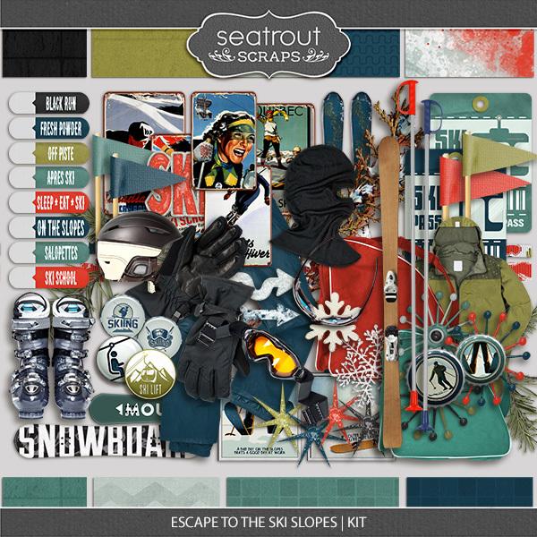 Escape To The Ski Slopes Kit Digital Art - Digital Scrapbooking Kits