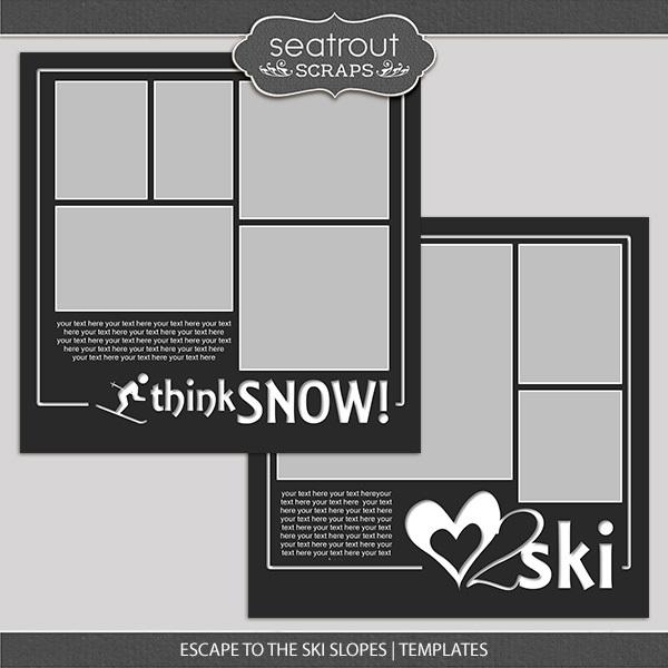 Escape To The Ski Slopes Templates Digital Art - Digital Scrapbooking Kits
