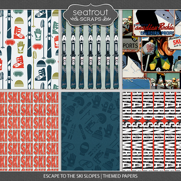 Escape To The Ski Slopes Themed Papers Digital Art - Digital Scrapbooking Kits