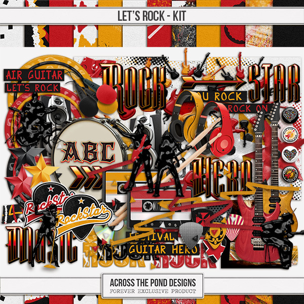 Let's Rock - Page Kit Digital Art - Digital Scrapbooking Kits