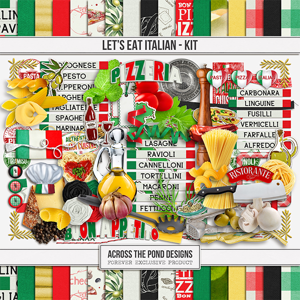 Let's Eat Italian - Page Kit Digital Art - Digital Scrapbooking Kits