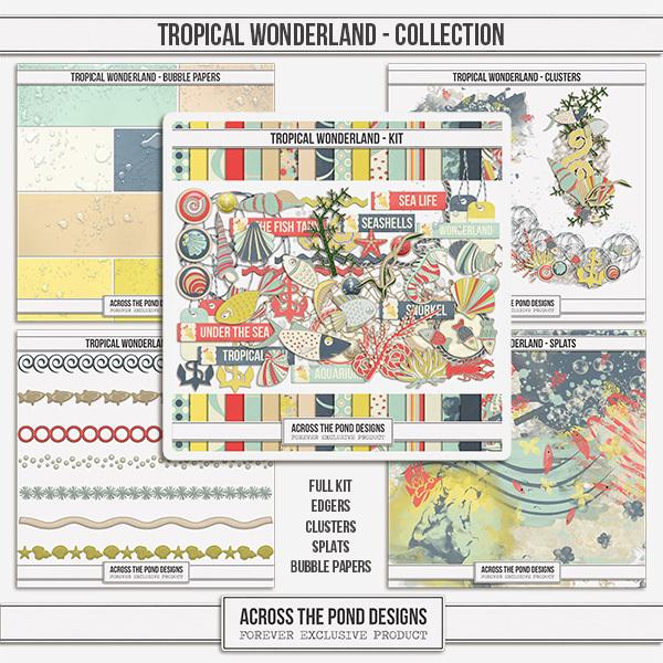 Tropical Wonderland Collection Digital Art - Digital Scrapbooking Kits