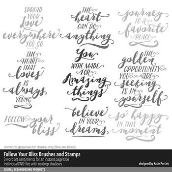 Follow Your Bliss Brushes And Stamps No. 01 Digital Art - Digital Scrapbooking Kits