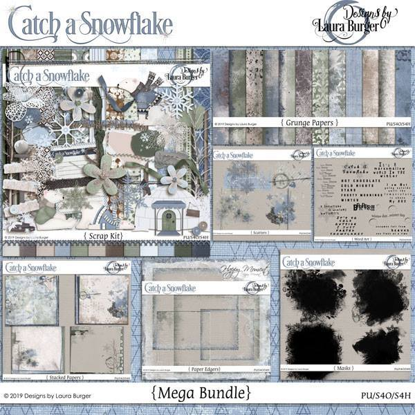 Catch A Snowflake Mega Bundle Digital Art - Digital Scrapbooking Kits