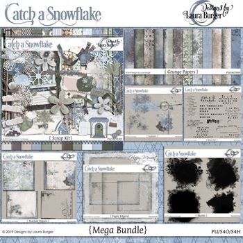 Catch A Snowflake Mega Bundle Digital Art - Digital Scrapbooking Kits