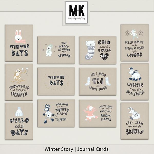 Winter Story - Journal Cards Digital Art - Digital Scrapbooking Kits