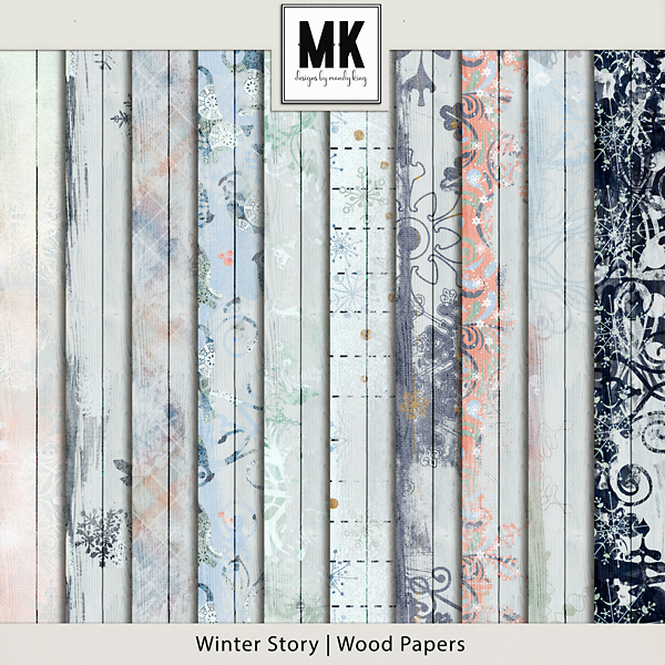 Winter Story - Wood Papers Digital Art - Digital Scrapbooking Kits