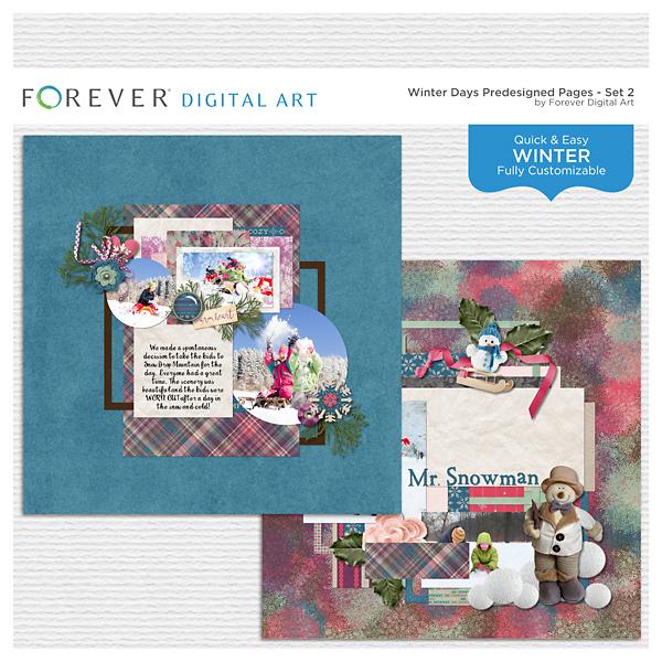 Winter Days Predesigned Pages - Set 2 Digital Art - Digital Scrapbooking Kits