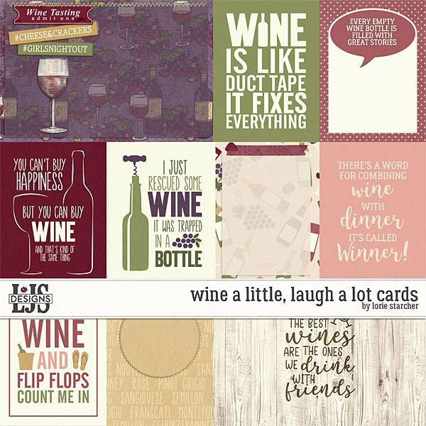 Wine A Little, Laugh A Lot Cards Digital Art - Digital Scrapbooking Kits