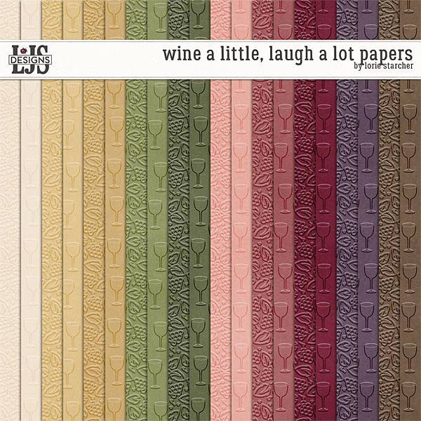 Wine A Little, Laugh A Lot Papers Digital Art - Digital Scrapbooking Kits