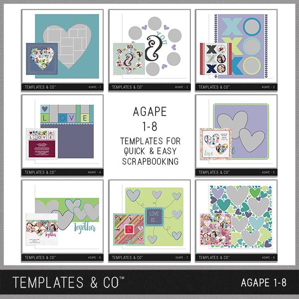 Agape 1-8 Digital Art - Digital Scrapbooking Kits
