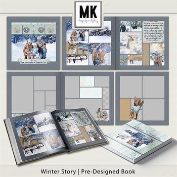 Winter Story Pre-designed Book Digital Art - Digital Scrapbooking Kits