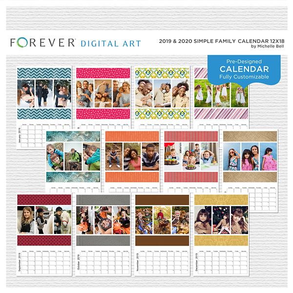 2019 & 2020 Simple Family Calendar 12x18 Digital Art - Digital Scrapbooking Kits
