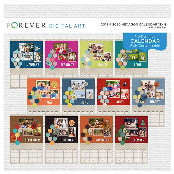 2019 & 2020 Hexagon Calendar 12x18 Digital Art - Digital Scrapbooking Kits