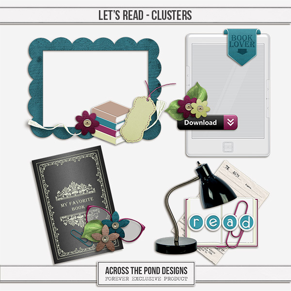Let's Read - Clusters Digital Art - Digital Scrapbooking Kits