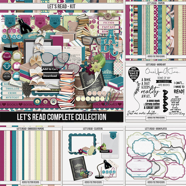 Let's Read - Complete Collection Digital Art - Digital Scrapbooking Kits
