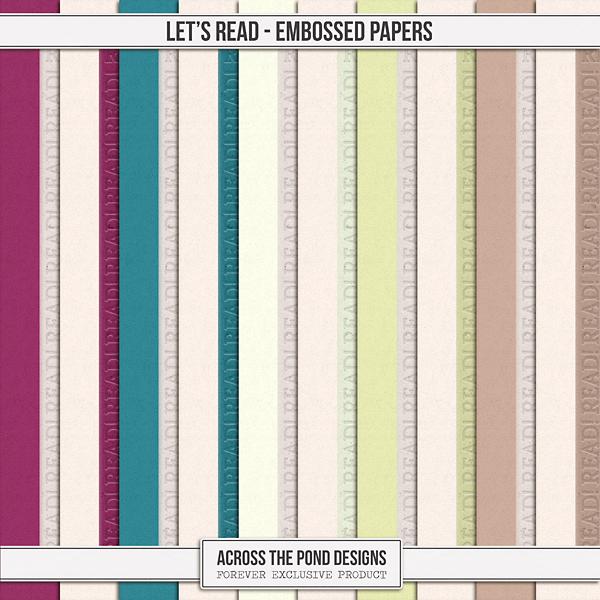 Let's Read - Embossed Papers Digital Art - Digital Scrapbooking Kits