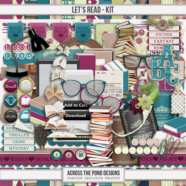Let's Read - Page Kit Digital Art - Digital Scrapbooking Kits