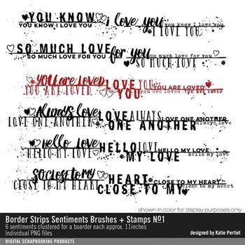 Border Strip Sentiments Brushes And Stamps No. 01 Digital Art - Digital Scrapbooking Kits