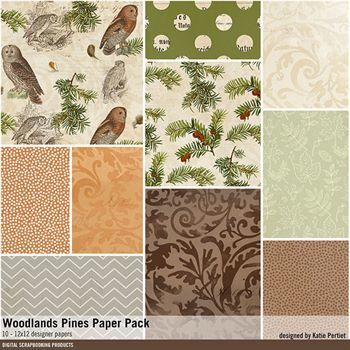 Woodland Pines Paper Pack Digital Art - Digital Scrapbooking Kits