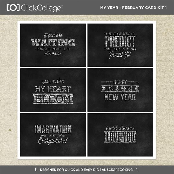 My Year - February Card Kit 1 Digital Art - Digital Scrapbooking Kits