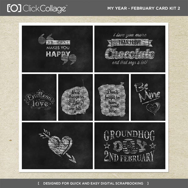 My Year - February Card Kit 2 Digital Art - Digital Scrapbooking Kits