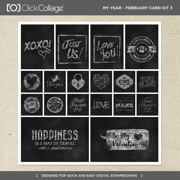 My Year - February Card Kit 3 Digital Art - Digital Scrapbooking Kits