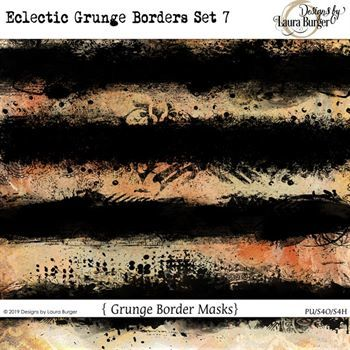 Eclectic Grunge Borders Set 7 Digital Art - Digital Scrapbooking Kits