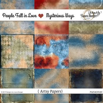People Fall In Love Mysterious Ways Artsy Papers Digital Art - Digital Scrapbooking Kits