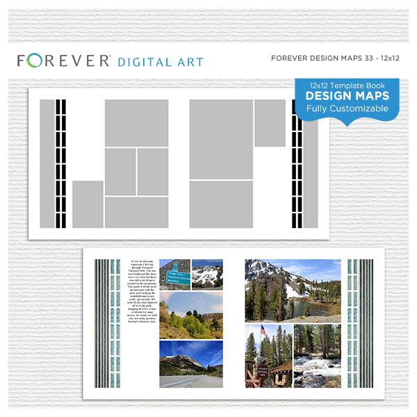 Forever Design Maps 33 12x12 Digital Art - Digital Scrapbooking Kits