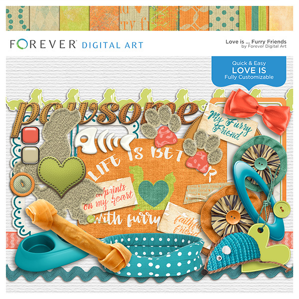 Love Is...furry Friends Digital Art - Digital Scrapbooking Kits