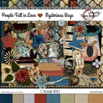 People Fall In Love Mysterious Ways Scrap Kit Digital Art - Digital Scrapbooking Kits