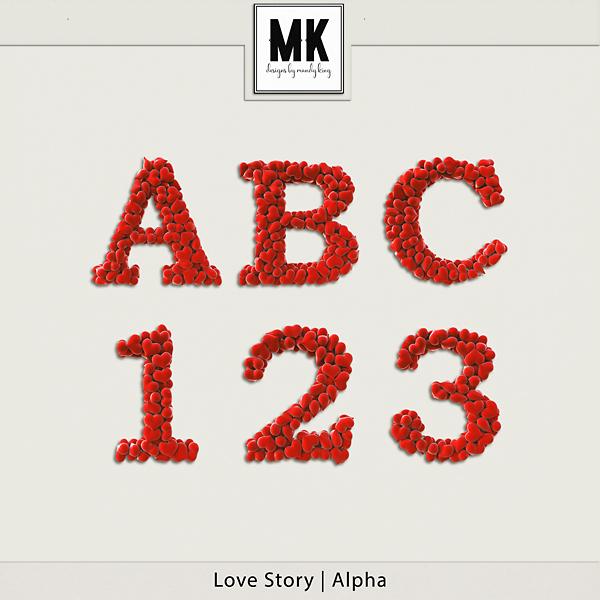 Love Story - Alpha Digital Art - Digital Scrapbooking Kits