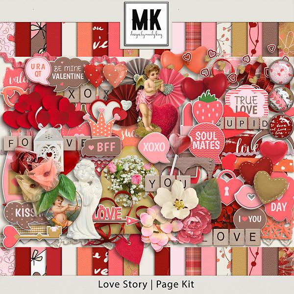 Love Story - Page Kit Digital Art - Digital Scrapbooking Kits