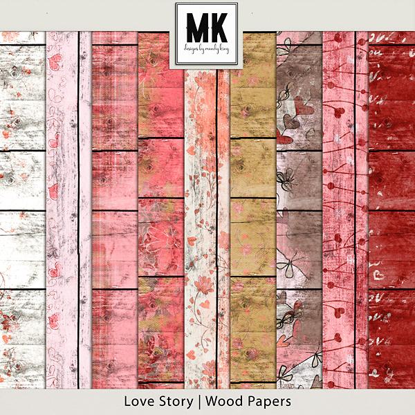 Love Story - Wood Papers Digital Art - Digital Scrapbooking Kits
