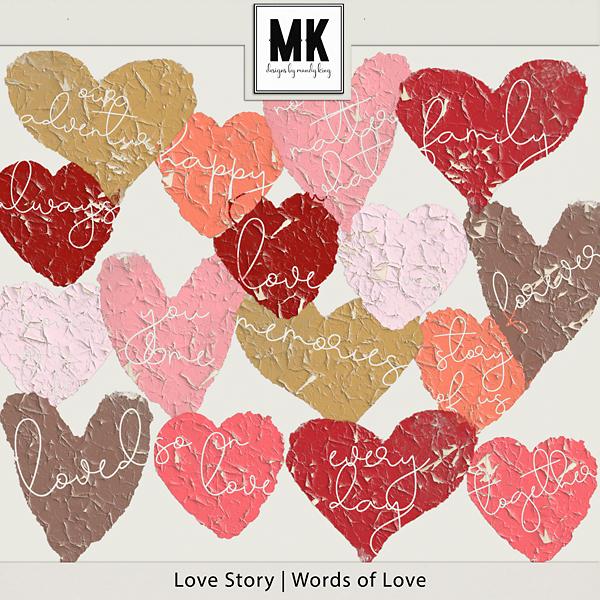 Love Story - Words Of Love Digital Art - Digital Scrapbooking Kits