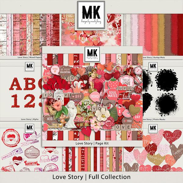 Love Story - Full Collection Digital Art - Digital Scrapbooking Kits