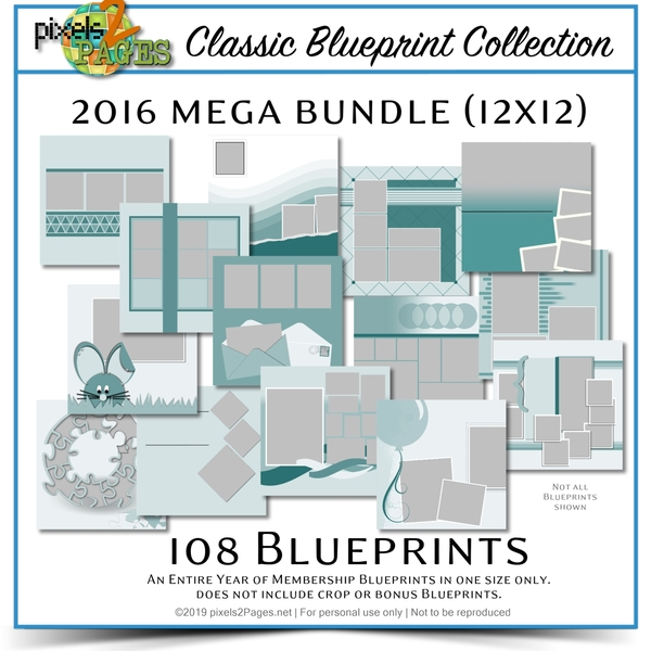 Classic Blueprint Collection 2016 Mega Bundle (12x12) Digital Art - Digital Scrapbooking Kits