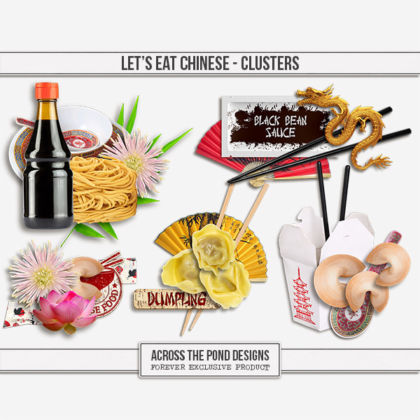 Let's Eat Chinese - Clusters Digital Art - Digital Scrapbooking Kits