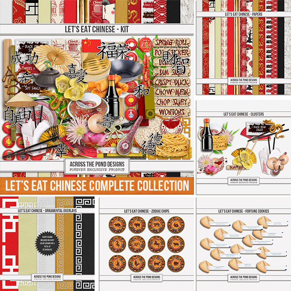 Let's Eat Chinese - Complete Collection Digital Art - Digital Scrapbooking Kits