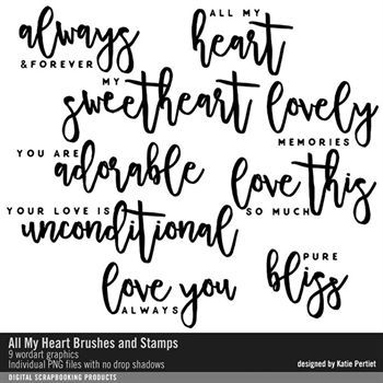 All My Heart Brushes And Stamps Digital Art - Digital Scrapbooking Kits