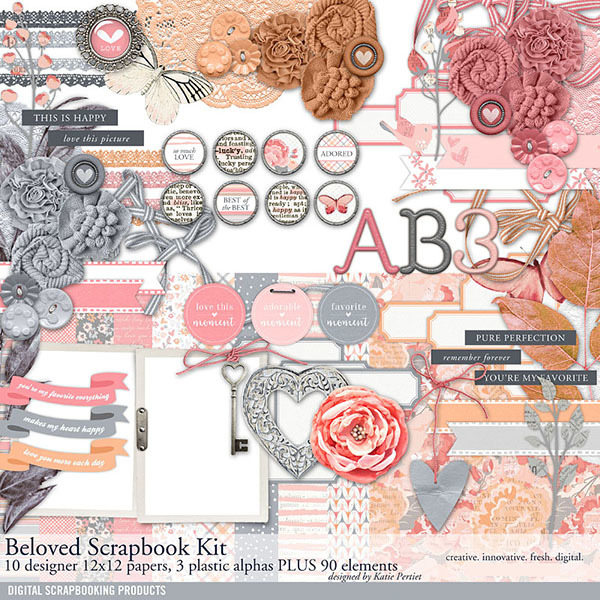 Beloved Scrapbook Kit Digital Art - Digital Scrapbooking Kits