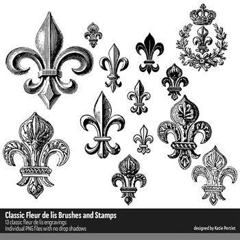 Classic Fleur De Lis Brushes And Stamps Digital Art - Digital Scrapbooking Kits
