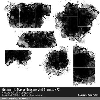 Geometric Masks Brushes And Stamps No. 02 Digital Art - Digital Scrapbooking Kits